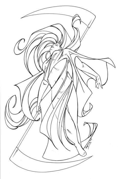 Death Angel Coloring Page LineArt