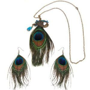 *USA* Vintage Jewelry Enamel Peacock Necklace Earrings Set by Peacock Jewelry. $9.99. Special design for all day wear, party, any ocasion. One Peacock natural feather Necklace, one pair peacock natural feather earrings. Value pack