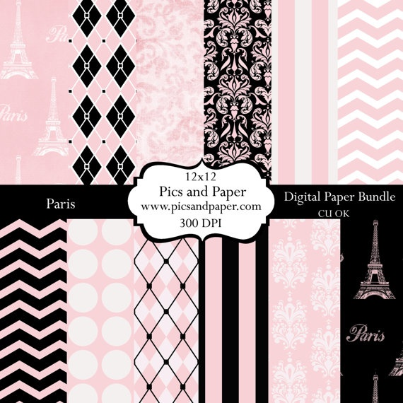 Digital Paper, French Eiffel Tower in Black and Pink