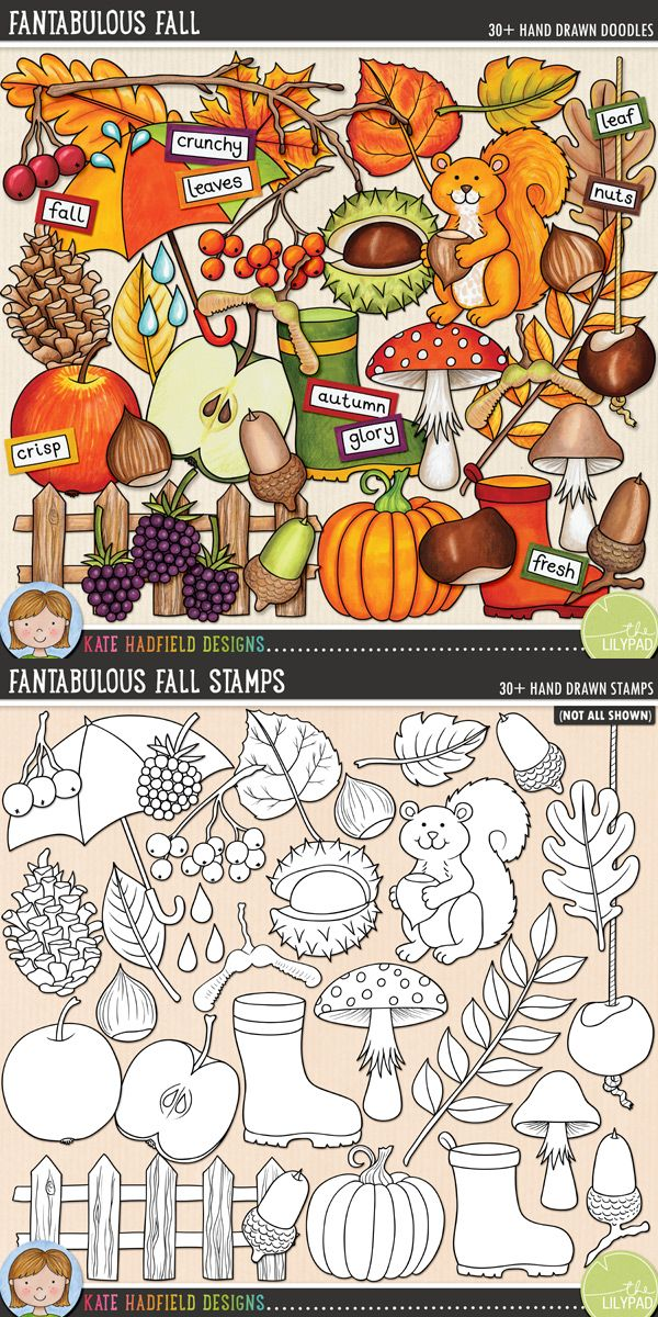 Aaaah, autumn - the most beautiful time of year! Celebrate the glory of the season with this pack of hand drawn doodles packed full of autumnal colours! Fantabulous Fall illustrations by Kate Hadfield Designs