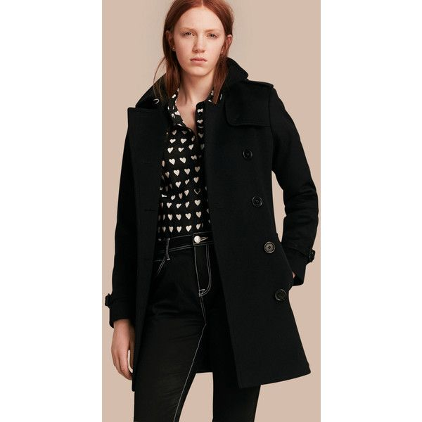 Burberry Wool Cashmere Trench Coat ($2,025) ❤ liked on Polyvore featuring outerwear, coats, military style coat, belted wool coat, wool cashmere coat, burberry coat and cashmere trench coat