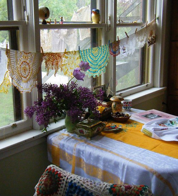 Drying the doilies.