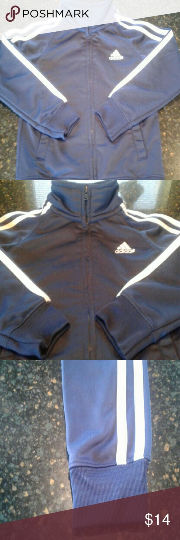 Kids Adidas Zip-Down Hoodie Nice Blue and White stripe Adidas Trademark hoodie.. Only worn once , might as well have tags on it.. Very comfy and made for spring/fall.. About 30 new in store.. Adidas Shirts & Tops Sweatshirts & Hoodies