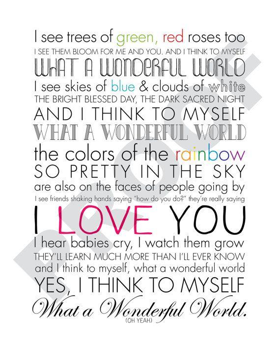 Printable What a Wonderful World Lyrics Artwork by JaydotCreative