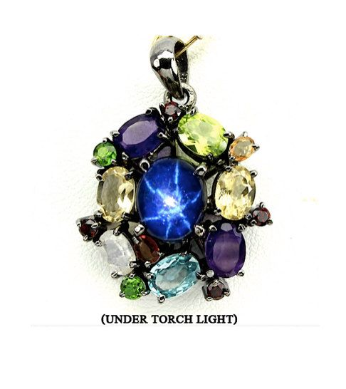 Unique Design Genuine 6 Rays Deep Blue Star SAPPHIRE and Multi Gems, Black…
