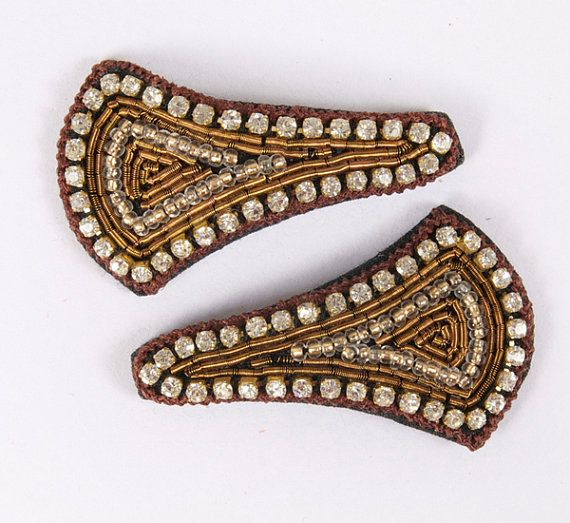 Brown thread edging with diamonds and gold beading embroidery in the center.  Snap clip, diamantes, hand embroidered. Brown, Gold, Beading & Diamantes.  £8.00 on Etsy... Please click on the Etsy link to purchase.