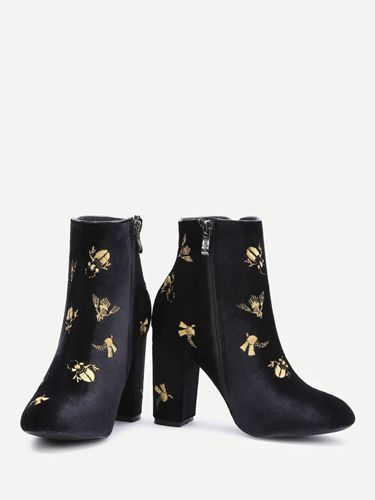 Primark Online Shop - 590556 - Black Embroidery Detail Side Zipper Chunky Heel Boots