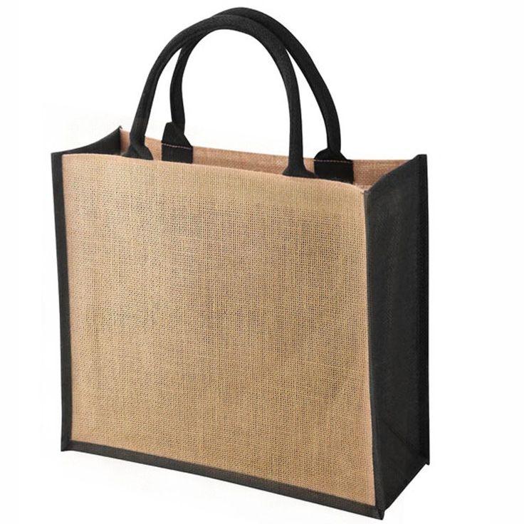 Burlap Fabric Double Handle Strap Jute Bag