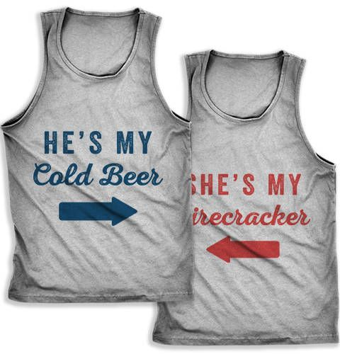Summer outfit, summer love, young love, couples outfit, tank top, cookout outfit, party, concert outfit, couples, quotes, love, style, he's my cold beer, she's my firecracker, wedding gift, engagement gift, bridal shower gift, diy, make it yourself (aff link)