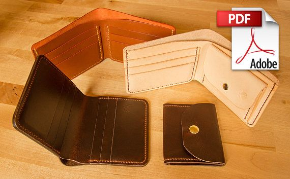 This digital listing is for a 15 page PDF leather pattern for the set of wallets shown in the photos. This contains: - the leather patterns ready