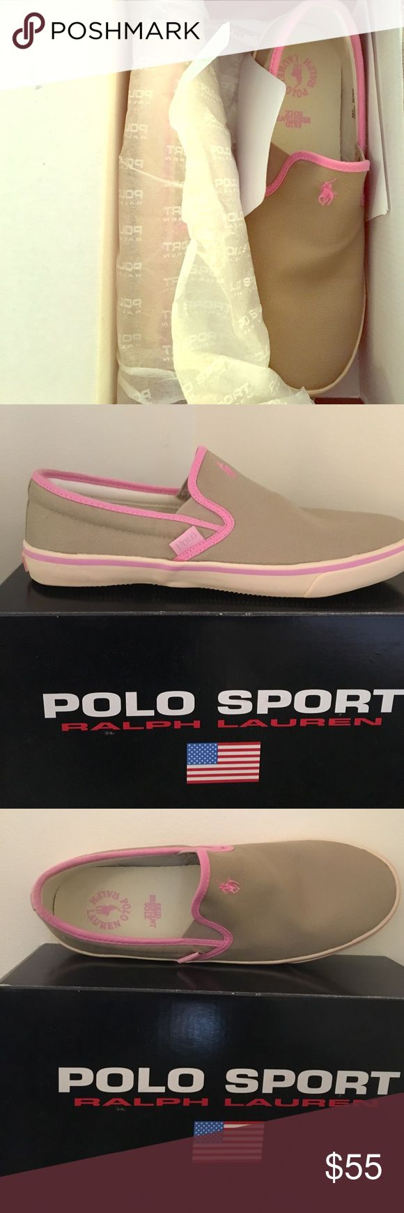 Polo Sport Ralph Lauren Wansheim Canvas Boat Shoe Brand New In Box! Never Worn! Khaki & Pink canvas slip on boat shoe. Great for a day at the beach or a day out on the boat. Skid resistant sole! Polo Sport Ralph Lauren Shoes Sneakers