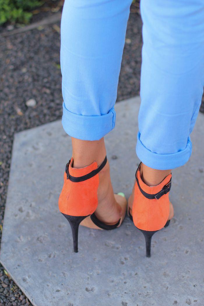 blue + orange: Colors Combos, Colors Pants, Orange Heels, Fashion Shoes, Summer Heels, Girls Fashion, Everyday Shoes, Hot Heels, Summer Colors
