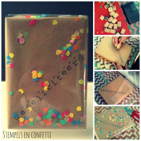 inpakken met confetti en stempels