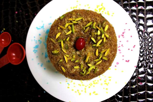 #Cake #Sweet Bandhan #Coffee #pistachios #cherries #butter #Sooji