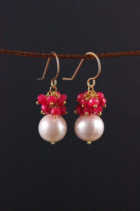 Freshwater Pearl Ruby Earrings Gold Filled Gemstone Cluster
