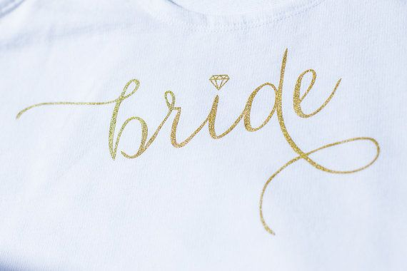 Goud en wit bruid Shirt Wifey Shirt bruid door IselleDesignStudio