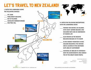 Worksheets: New Zealand Landmarks