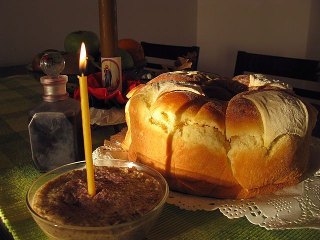 Slava bread is a traditional food for the Serbian Patro Saint Day, Krsna Slava. The priest traditionally blesses the bread before festivities.