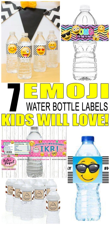 Emoji Water Bottle Labels Kids Labels Emoji Birthday Water Bottle Labels