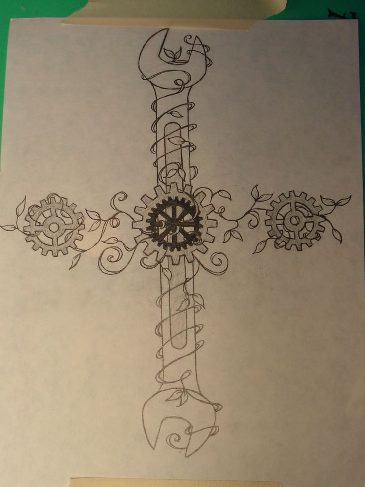Commissioned custom tattoo design: Wrenches, Gears, and Vines for a Mechanic. www.ursadavis.com