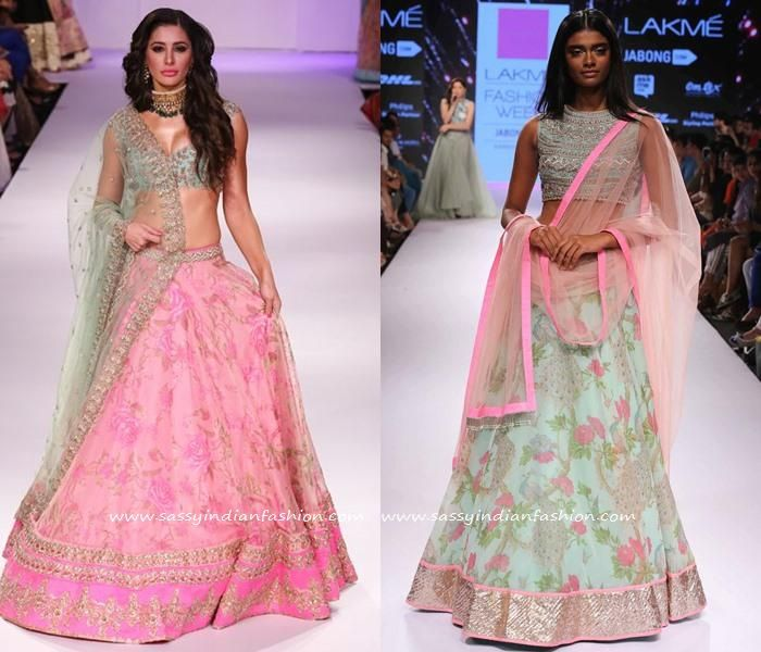 Pink Floral Lehenga Designs for Bride