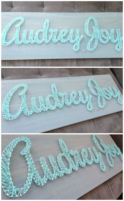 DIY nursery art - name sign using nails wrapped with yarn or thread