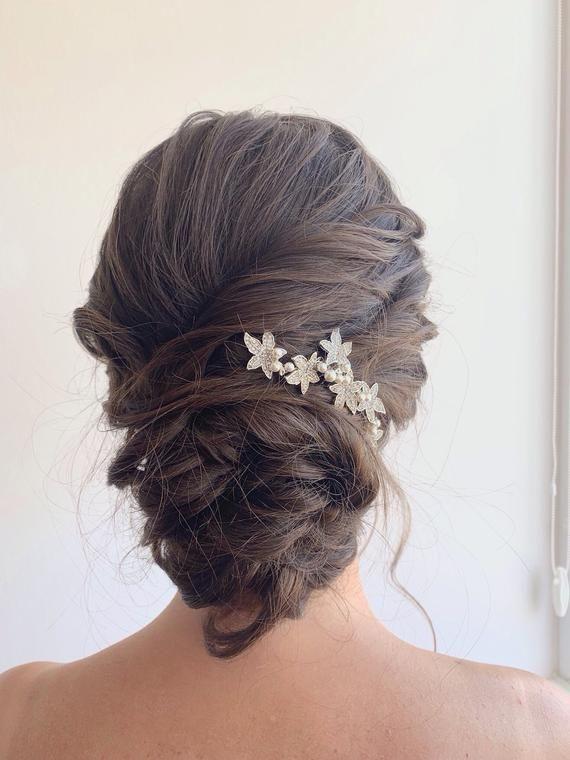 Pearl Hair Pin x 6 White Single Crystal Wedding Bridal Decoration Accessory uk
