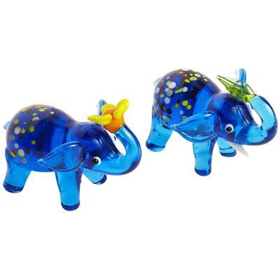 Glass Elephant Collectible Set