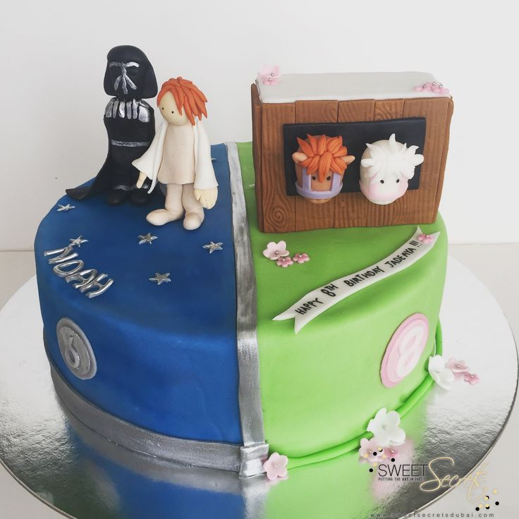 A his n hers cake! A brother and sister shared their cake, and their love for…