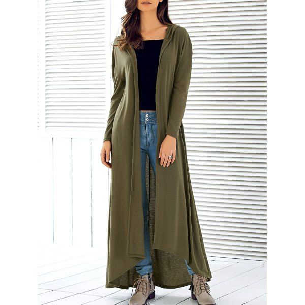 Wholesale Hooded Long Sleeve Maxi Cardigan Only $6.38 Drop Shipping | TrendsGal.com