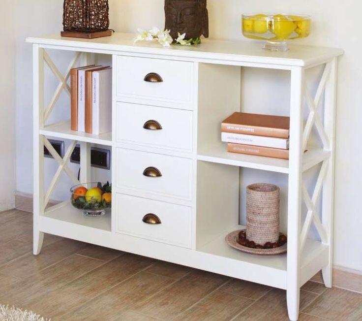 Librero con 4 cajones eneko blanco muebles coloniales - Muebles coloniales blancos ...