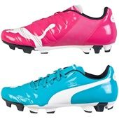 puma football boots. puma evopower tricks 4 football boots in pink/blue. available from kitbag.com f