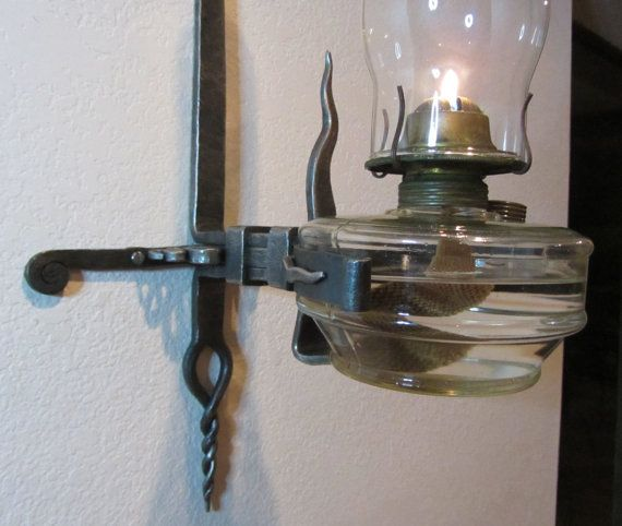 Hand Forged Iron Wall Bracket With Vintage Glass Oil Lamp Ironwork Holder Kerosene Glass Chimney