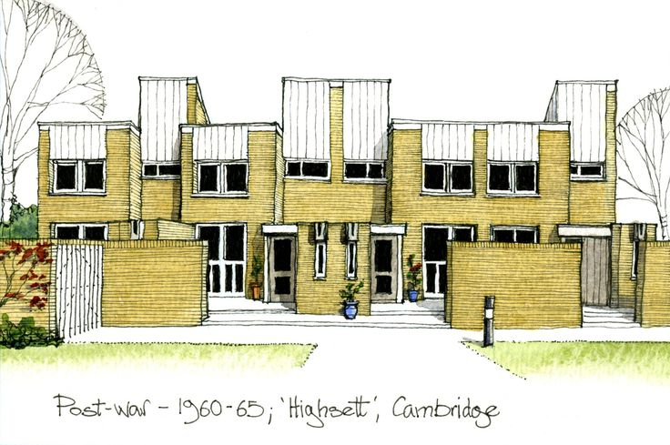 The November Historic Building Calendar  01/11/12 10:24 Filed in: Historic Buildings | Calendars | Surveying    Post-war – 'Highsett', Cambridge    The decades following WWII saw the continued demand for new housing, though much that was built was of mediocre design and construction quality. Amongst the exceptions were the 'Span' developments designed by Eric Lyons. These provided high density, low rise housing set in mature landscaped surroundings.