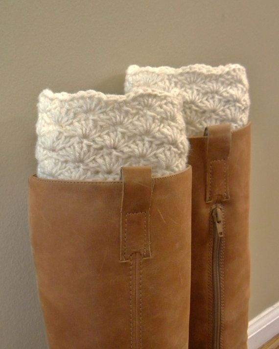 Boot Cuff - Cream- Crocheted. $17.50, via Etsy.