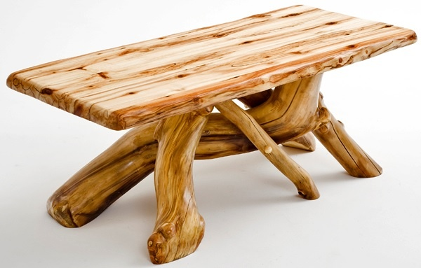 natural wood furniture - aspen log coffee table - free form style