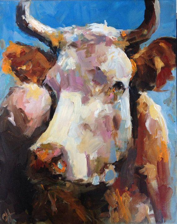 Cow Painting  Penny  16x20 Original Painting by CariHumphryArtCanvas Prints, Wraps Canvas