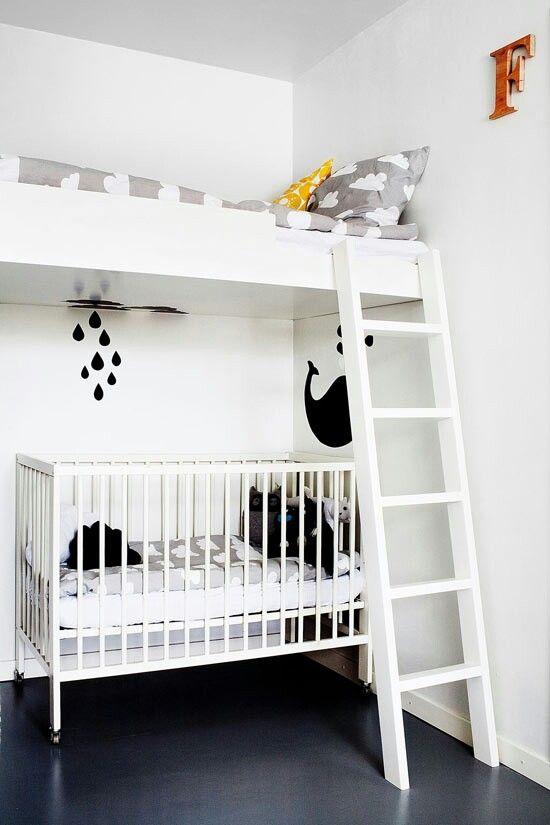 Great space saving idea for a shared kids bedroom