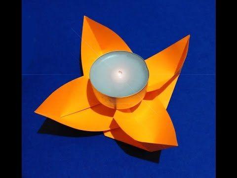 Подставка для свечи. Цветок из бумаги. Origami Candle holder