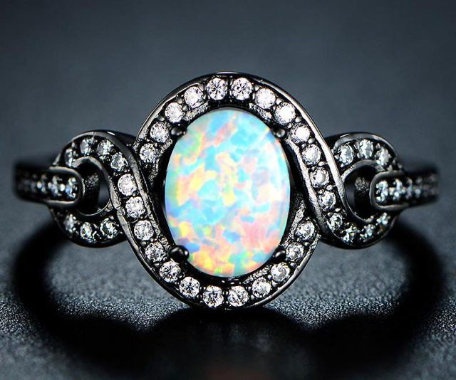 Black Rhodium Plated White Opal Ring - https://tiwib.co/black-rhodium-plated-white-opal-ring/ #Jewelry #gifts #giftideas #2017giftideas #xmas
