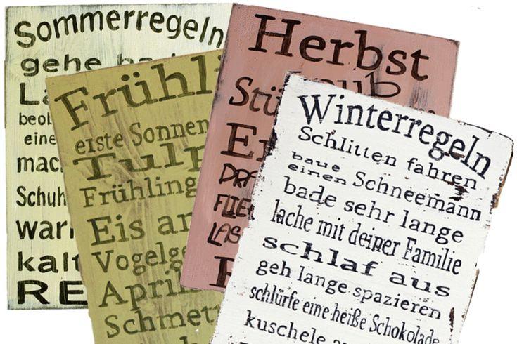 Holzschilder XL im Set Jahreszeiten von *****LILLIS HANDCRAFT ***** Holzschilder mit Sprüchen im Shabby und Vintage Stil von Hand beschriftet und bemalt. Auch mit individuellem Text. auf DaWanda.com