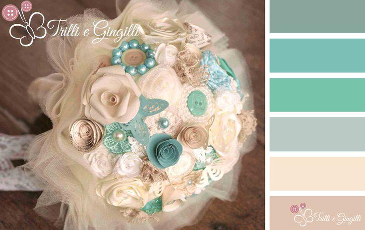 Palette di colori perfetta per il matrimonio: tiffany e panna. Color palette with #tiffany and white. #wedding #palette #bouquet