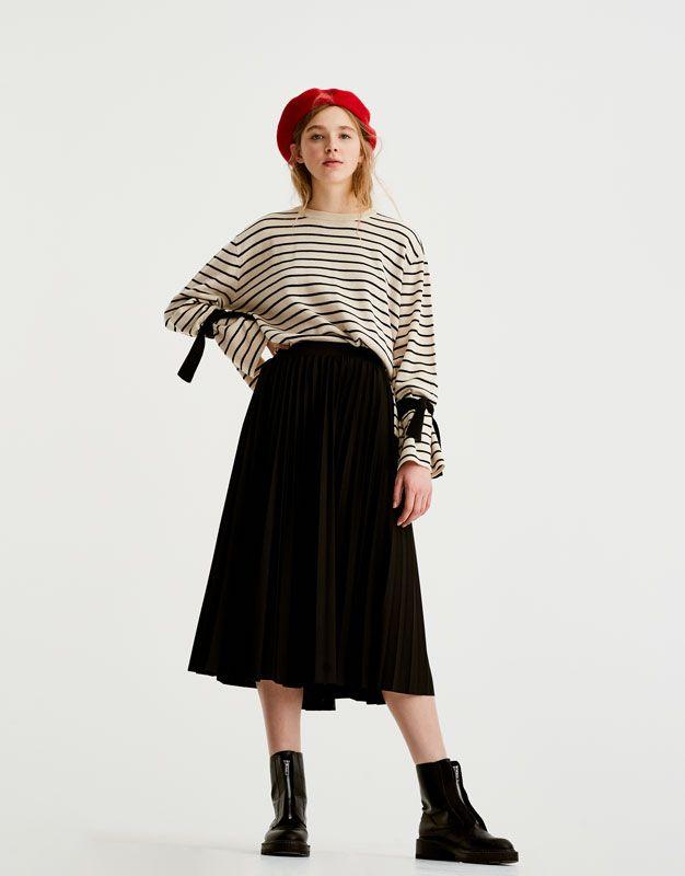 075f4ac8fc Pleated midi skirt - Skirts - Clothing - Woman - PULL&BEAR Turkey ...
