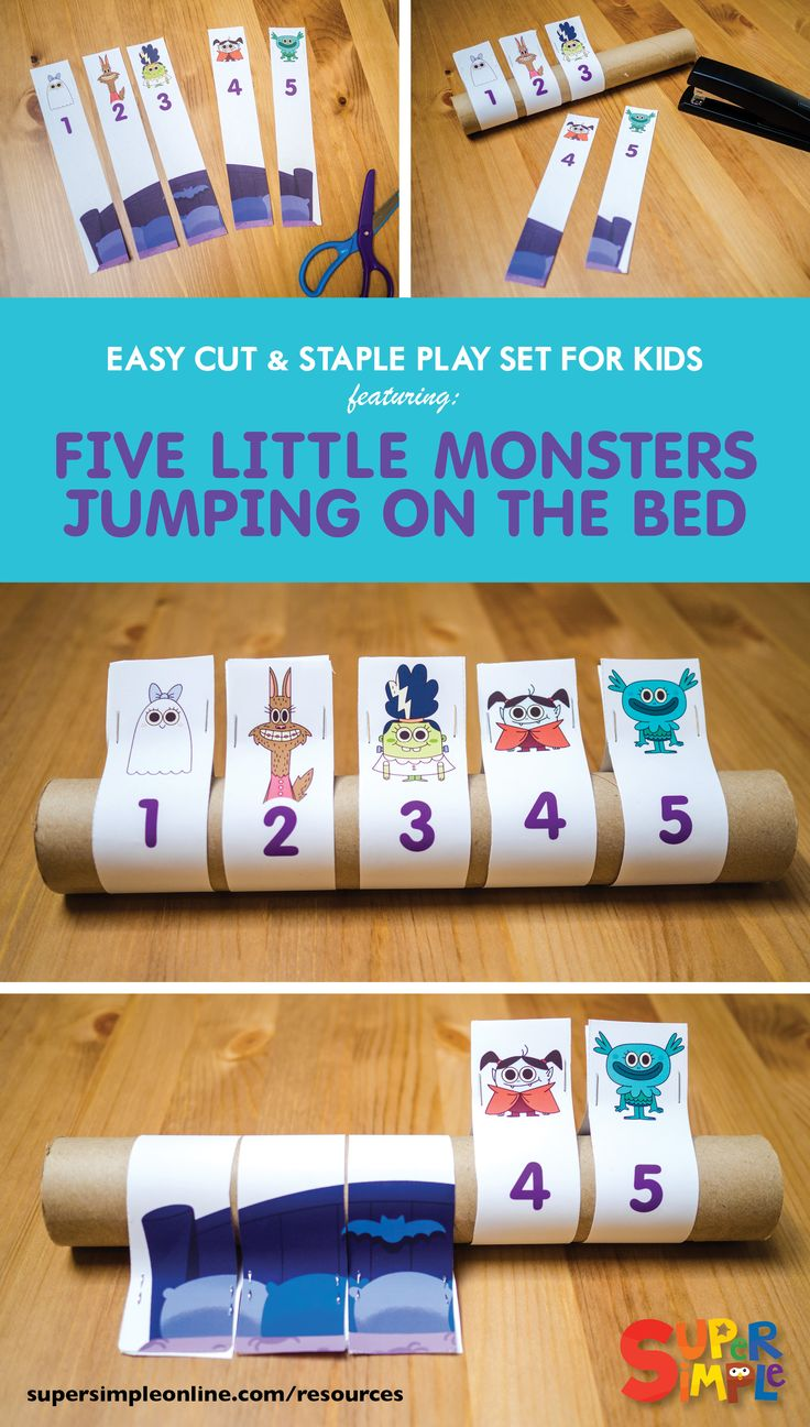 The five little monsters just can't stop jumping on the bed. One by one, they fall off and bump their heads. Act out the song with this easy to make cardboard tube craft. Download includes assembly instructions.