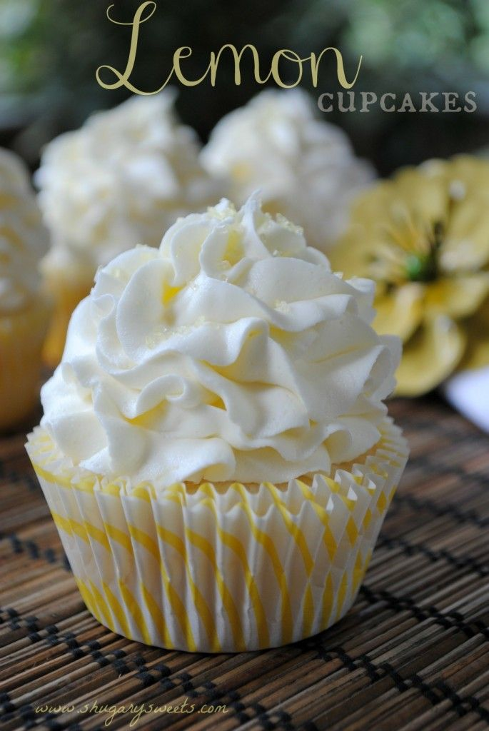 #KatieSheaDesign ♡❤ ❥  Lemon Cupcakes- the best white cake batter from scratch with a hint of lemon, topped with a #lemon buttercream frosting! #cupcakes www.shugarysweets.com