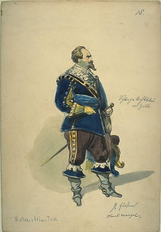 Kostümentwurf für die Figur des Oberst Wrangel aus 'Wallenstein' von Friedrich von Schiller | Franz Gaul | Bildindex der Kunst & Architektur