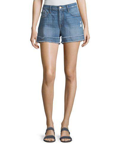 ee311b7cf1 FRAME Le Grand Garcon Frayed Cuff Denim Shorts   Products   Denim shorts,  Denim, Frame
