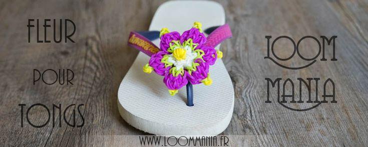 Fleur en élastiques pour tongs - Flowers for summer  shoes Rainbow Loom