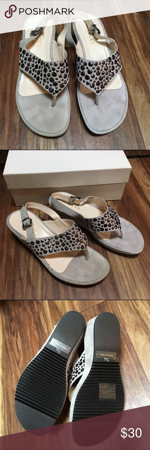 *Charity* Sesto Meucci Suede Studded Sandals 6 **100% of this sale will benefit WV flood victims who are still displaced in tents and campers during the cold winter months. It will help with portable heaters, blankets, carbon monoxide detectors and other winterization needs**    Grey/Taupe suede by Sesto Meucci (Nordstroms) Dark silver studs. Very little wear, one scuff or dirty spot on front of toe (see pic). This may come off with a suede brush. Sesto Meucci Shoes Sandals