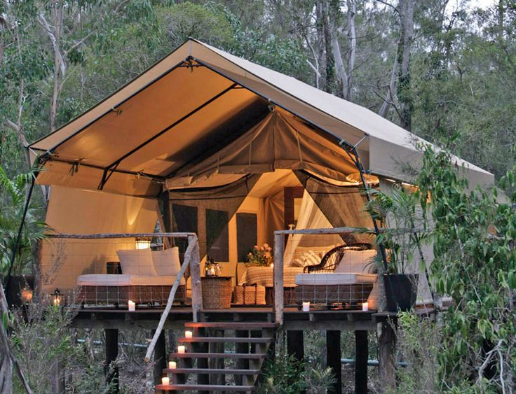 Paper Bark Camp (Jervis Bay, NSW) deluxe safari tents are built off the ground on a timber platform to give a unique aspect and capture the seabreeze